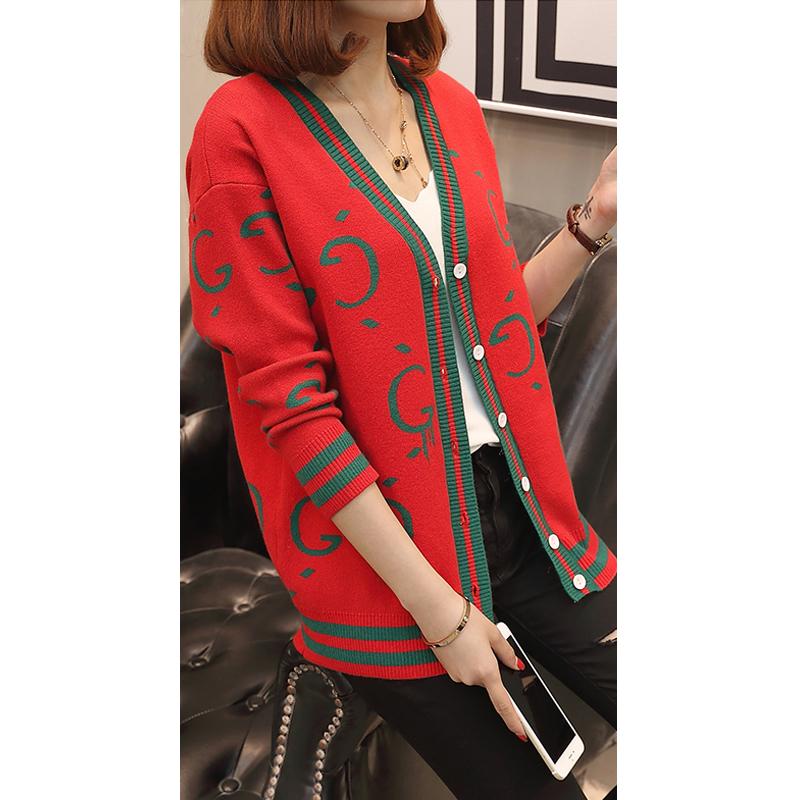 毛衣外套女春秋季新款韩版宽松上衣网红慵懒风二八月撞色针织开衫