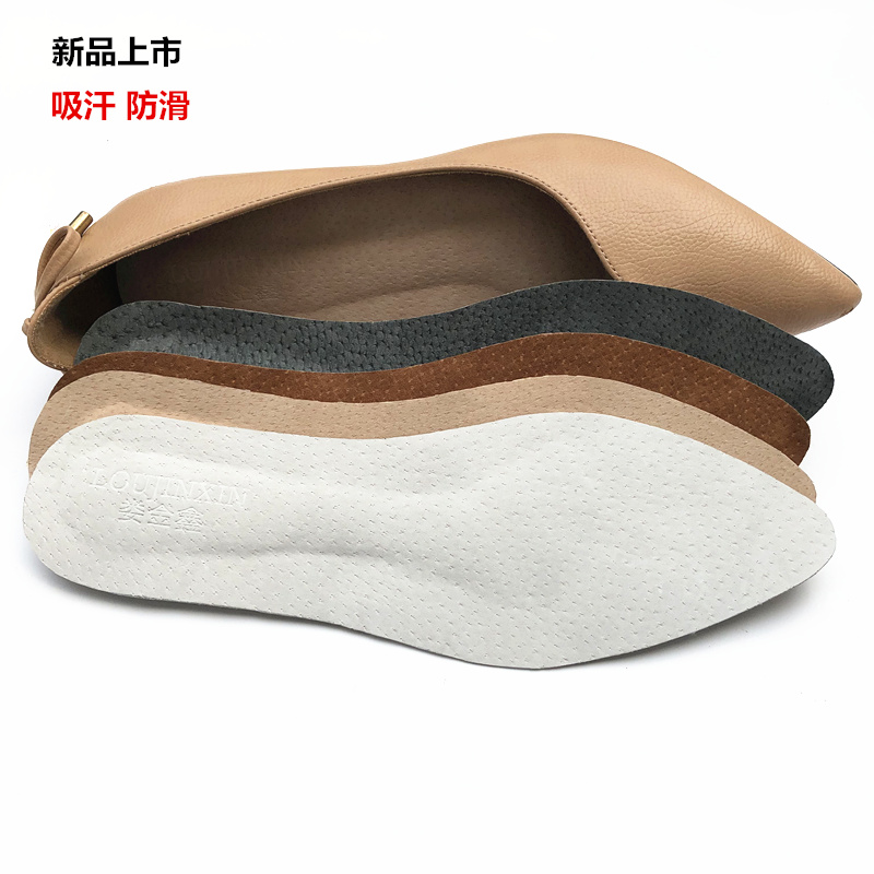 Thin leather pigskin sweat sucking womens high heel flat shoes with square pointed round head single shoes with self adhesive and anti slip insole