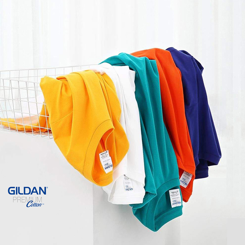 Imported cotton gildan 76000 o-neck solid summer large bottomed shirt men and women short sleeve T-shirt trend