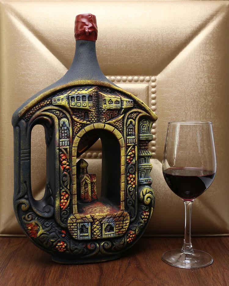 进口酒格鲁吉亚彩陶原装半甜红酒