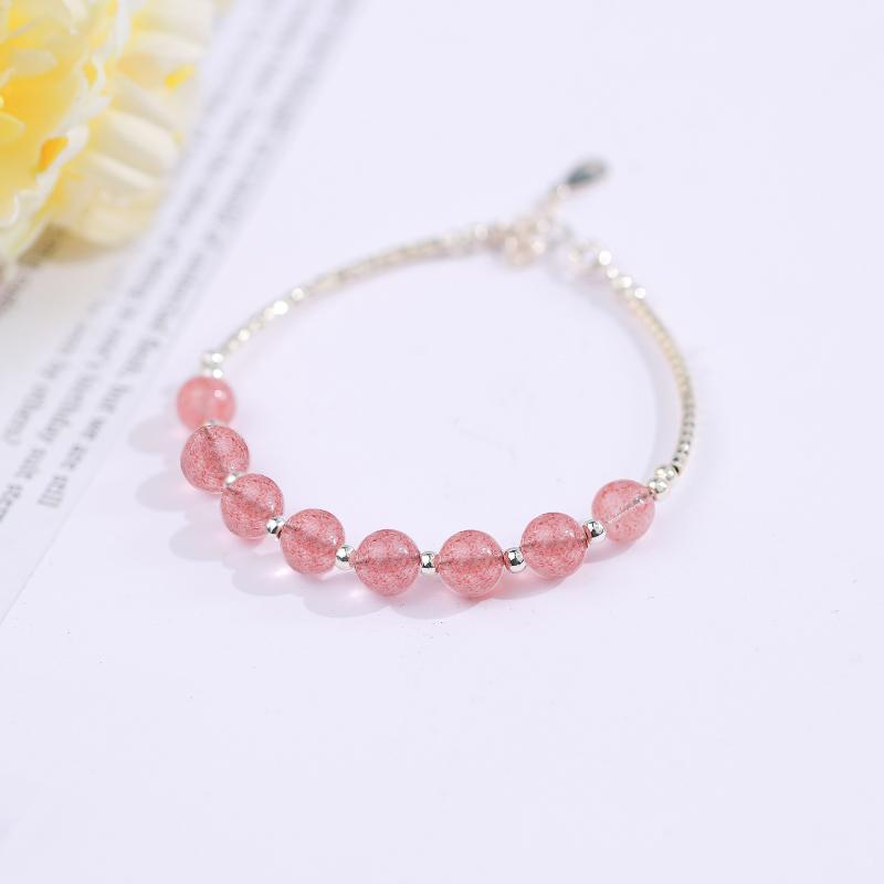 925纯银草莓晶手镯女 甜美小清新简约个性天然粉招桃花转运珠手链