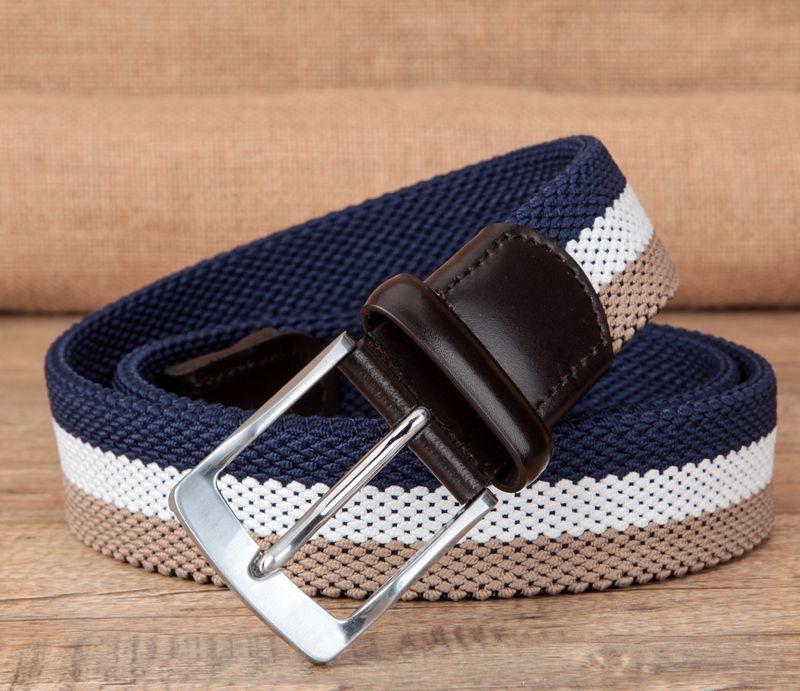 Canvas woven belt mens pin buckle imported large elastic elastic golf leisure belt