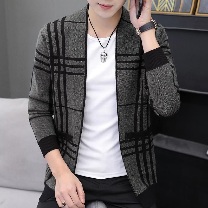 9055-P50男士毛衣开衫外套纯棉针织衫个性时尚外穿线衫秋季薄款