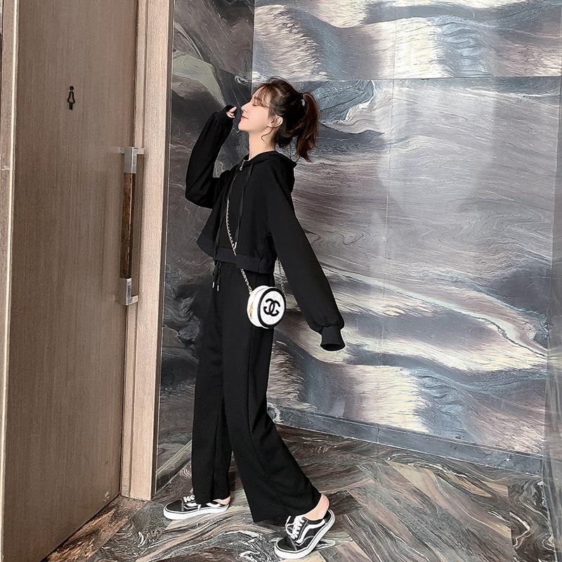 连帽短卫衣休闲裤两件套女2019新款初秋短款抽绳运动上衣长裤套装券后79.99元