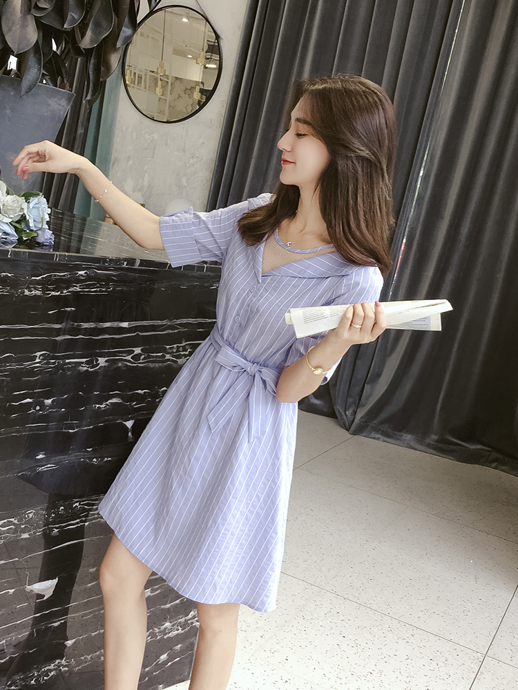 Dress Summer of 2018 Blue and white stripes S M L Middle-skirt singleton  Short sleeve commute Crew neck Elastic waist stripe Socket other routine Others Small grains Korean version Pleated lace up mesh D2858 More than 95% polyester fiber
