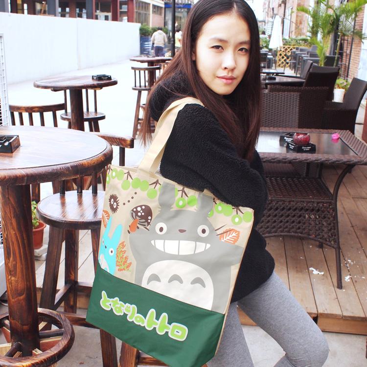 卡通可爱日本龙猫拉链单肩手提可折叠环保帆布袋购物袋学生女包