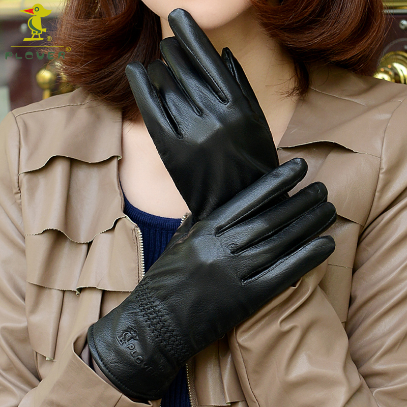 Woodpecker special genuine leather gloves genuine leather womens winter Plush Warm goat skin thickened womens