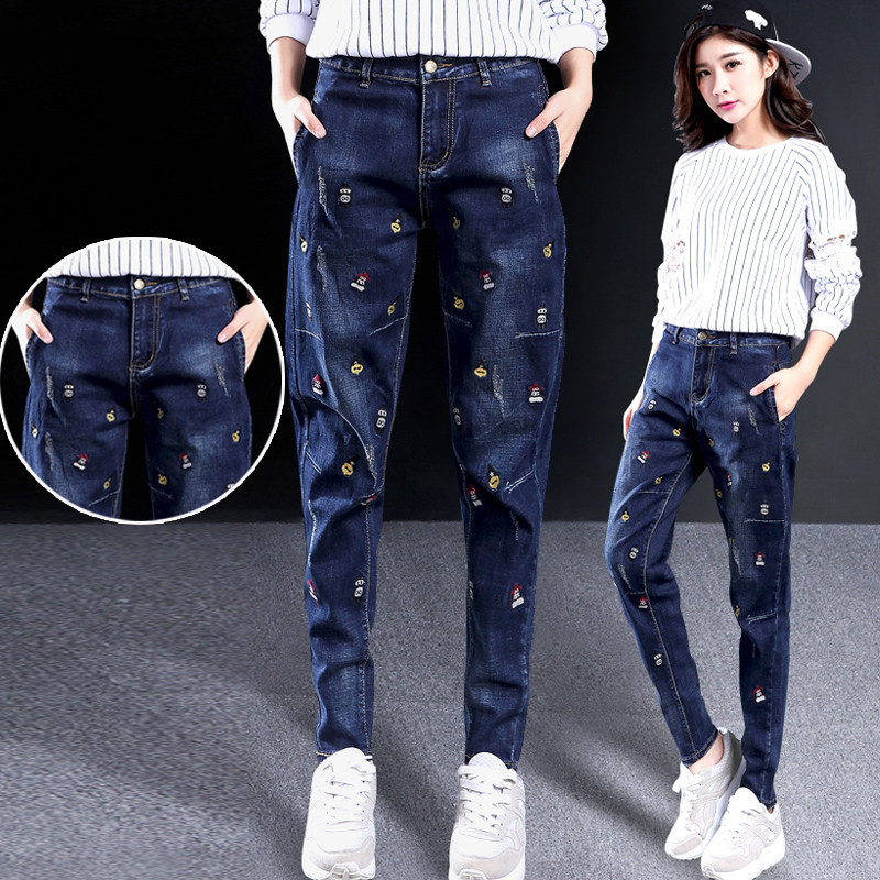 High waist 2021 new loose Harlan jeans female thorn embroidered dad radish pants straight tube spring and autumn fashion