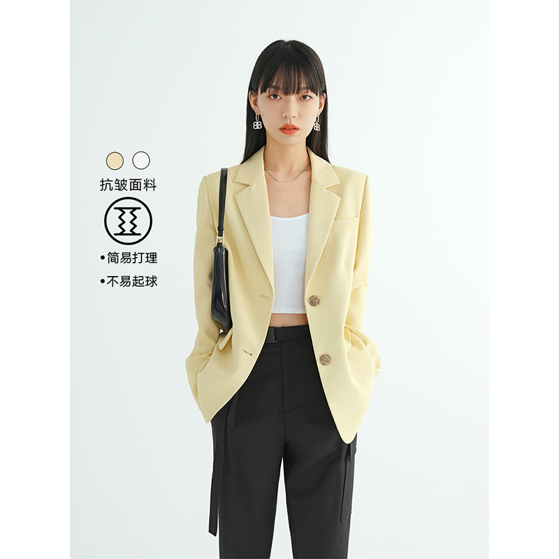 VEGA CHANG小西装外套女2021春装新款单排扣设计感英伦风西服上衣