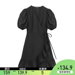 【88折】赫本风可盐可甜连衣裙女夏气质黑色收腰法式小众裙子