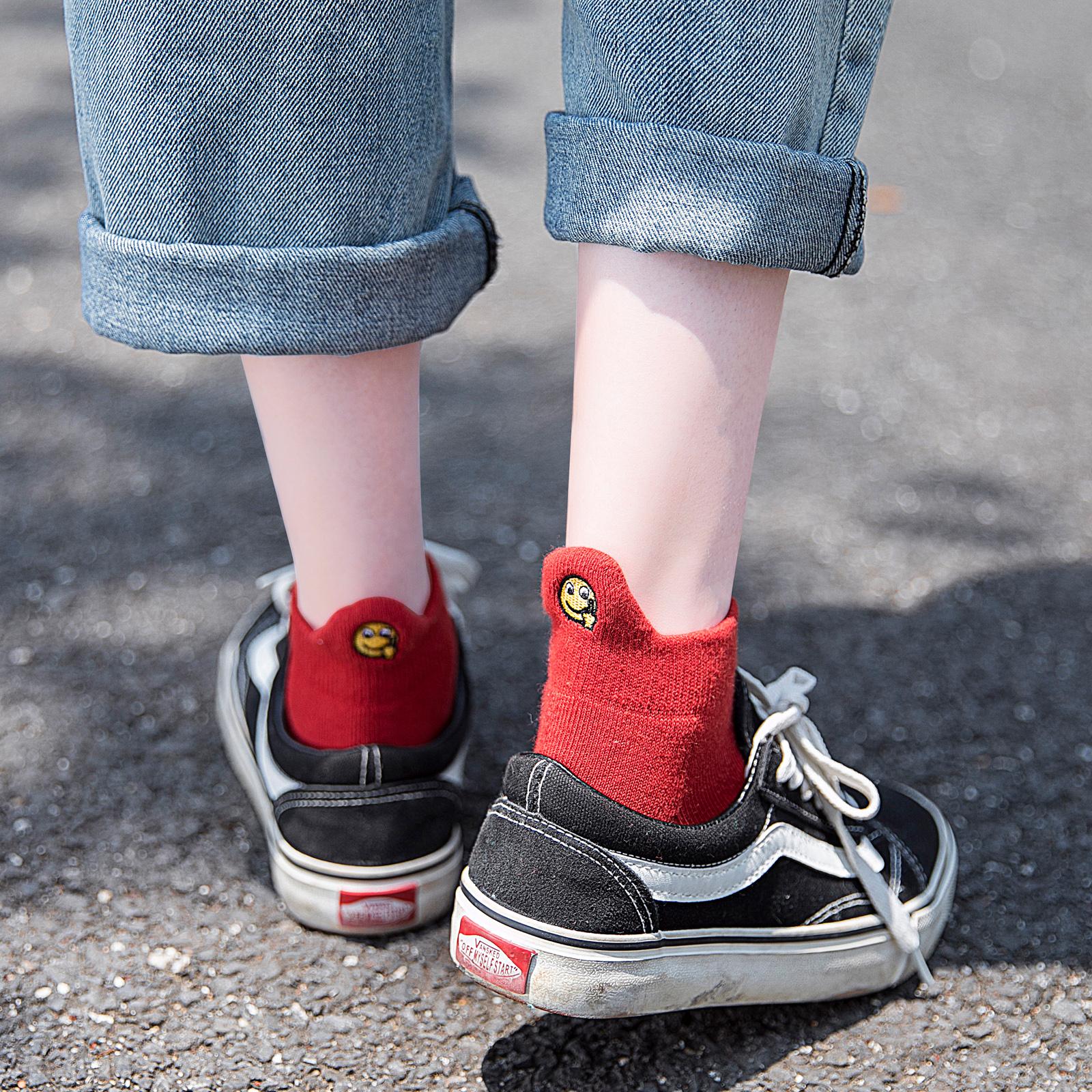 秋季袜子女短袜韩国可爱中筒袜韩版学院风搞怪防臭吸汗纯棉毛巾袜