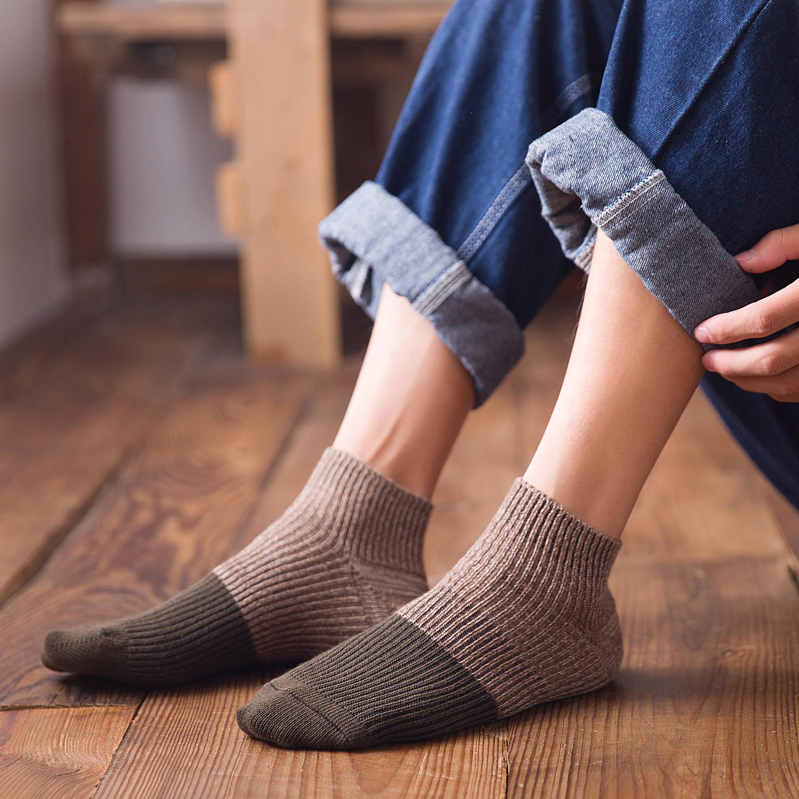 男袜子男士纯棉中筒袜防臭吸汗全棉毛线袜潮流秋冬季长袜街头ins