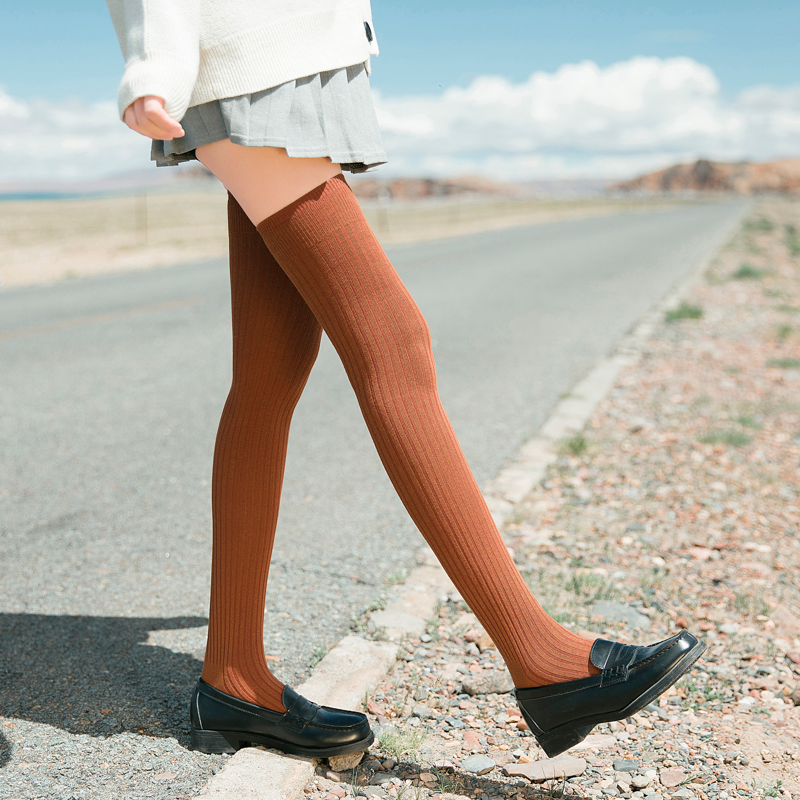 半腿长袜子女长筒袜子潮ins过膝袜日系高筒袜大腿袜学生薄款夏季