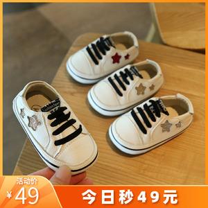 女宝宝鞋子1一3岁0-2男童小童帆布鞋婴儿学步春秋季软底2019新款