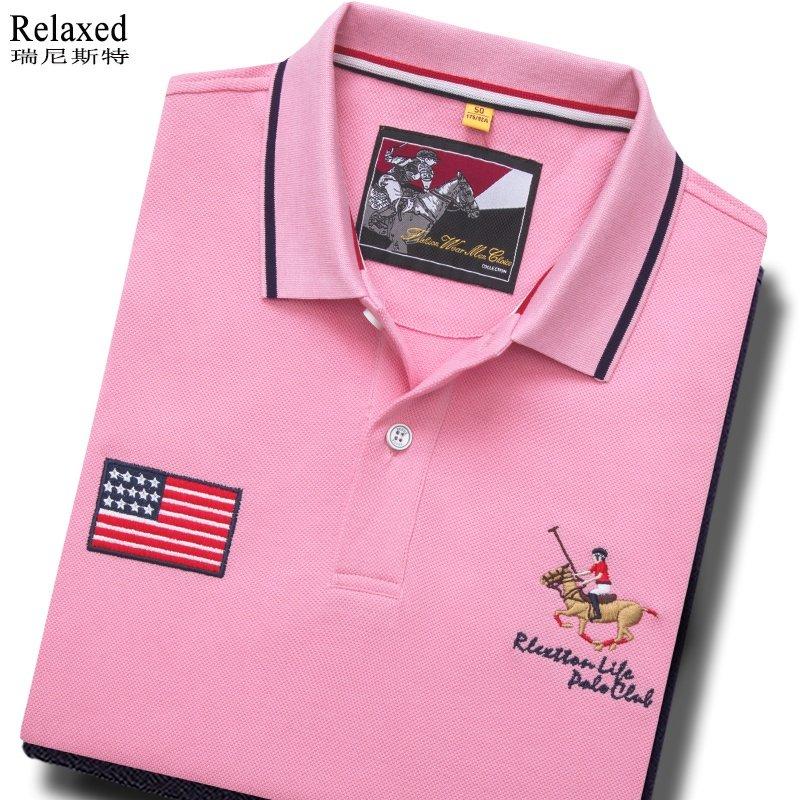 进口品牌夏纯棉粉色短袖翻领T恤男装POLO衫USA美国马球半袖上衣服