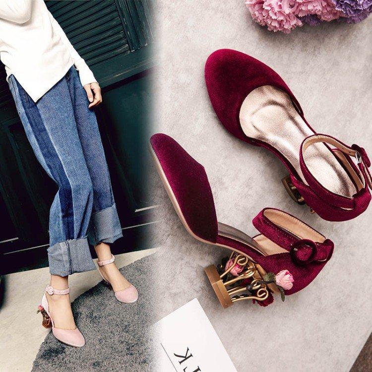 欧洲站日系洛丽塔原创创意单鞋鸟笼高跟鞋Lolita宫廷软妹鞋少女花