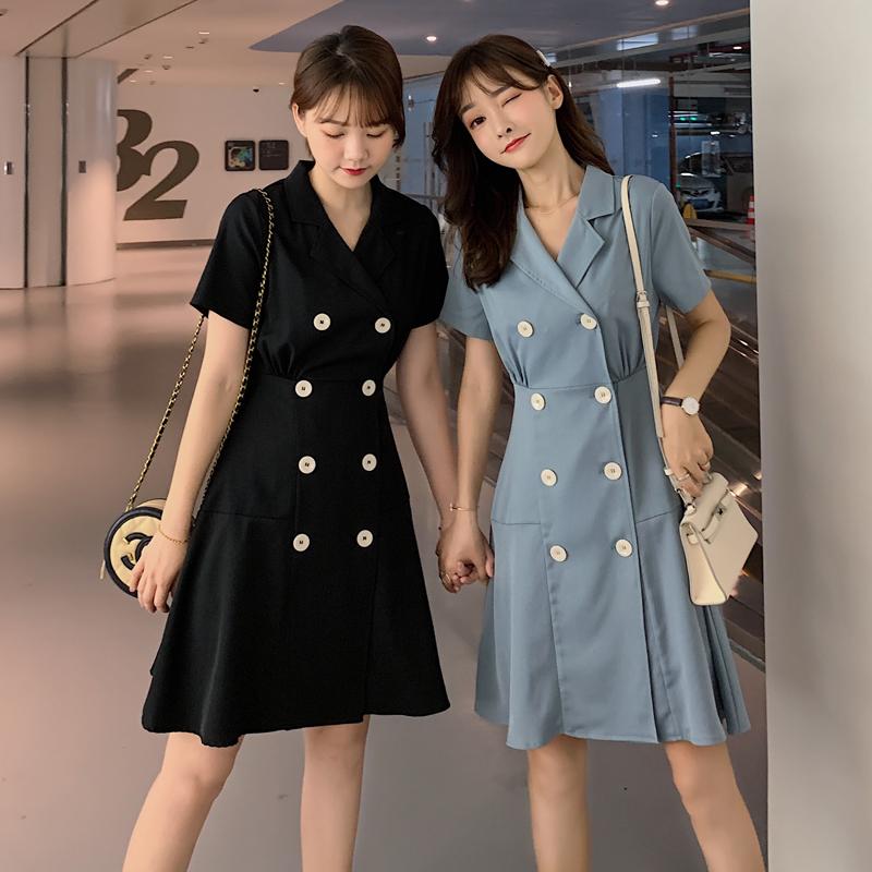 大码女装胖妹妹夏装2019新款洋气减龄小香风适合胯大腿粗的连衣裙