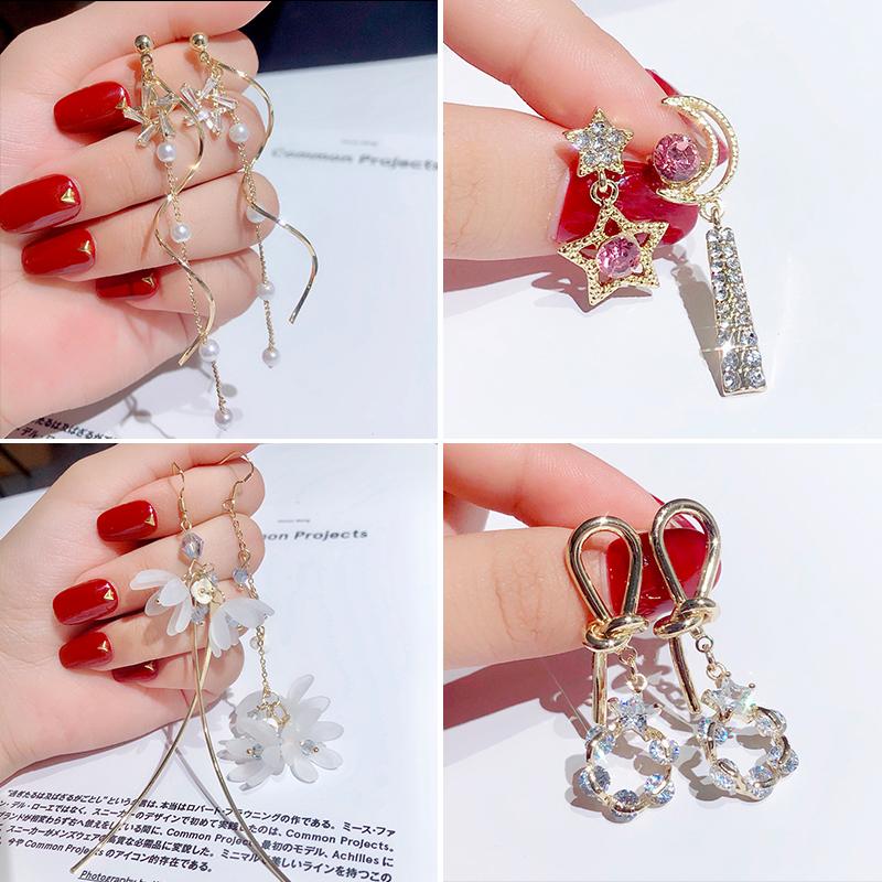 限3000张券女长款气质网红水晶流苏潮纯银耳环