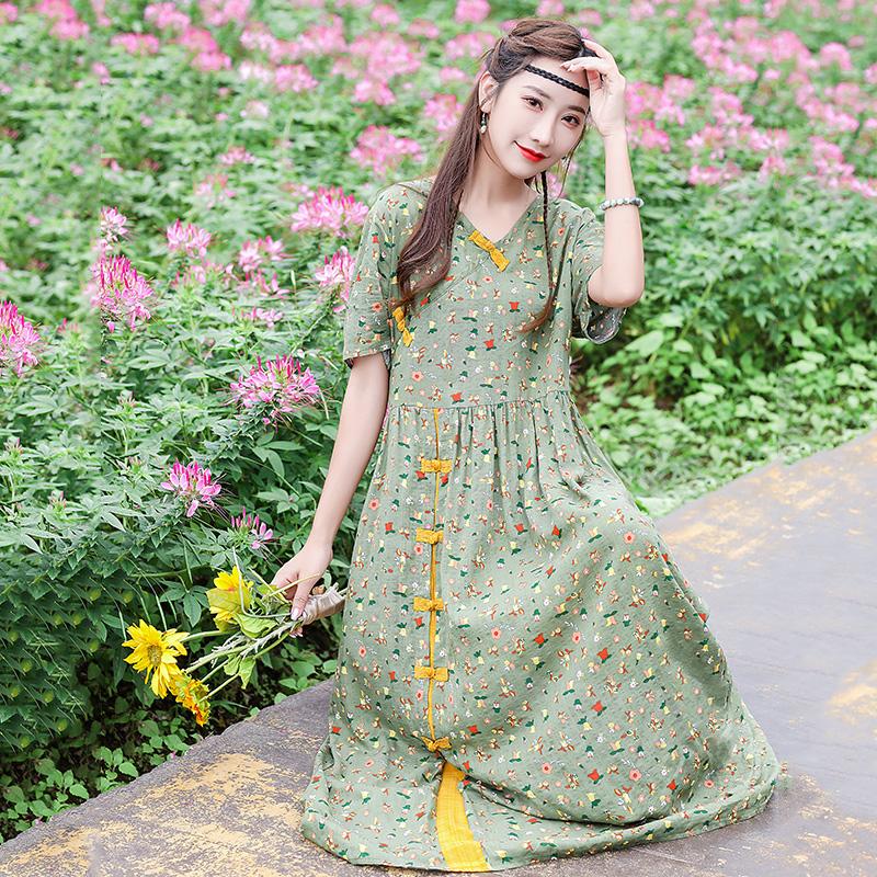 民族风女装复古印花棉麻连衣裙夏天薄款2021新款宽松显瘦麻棉长裙