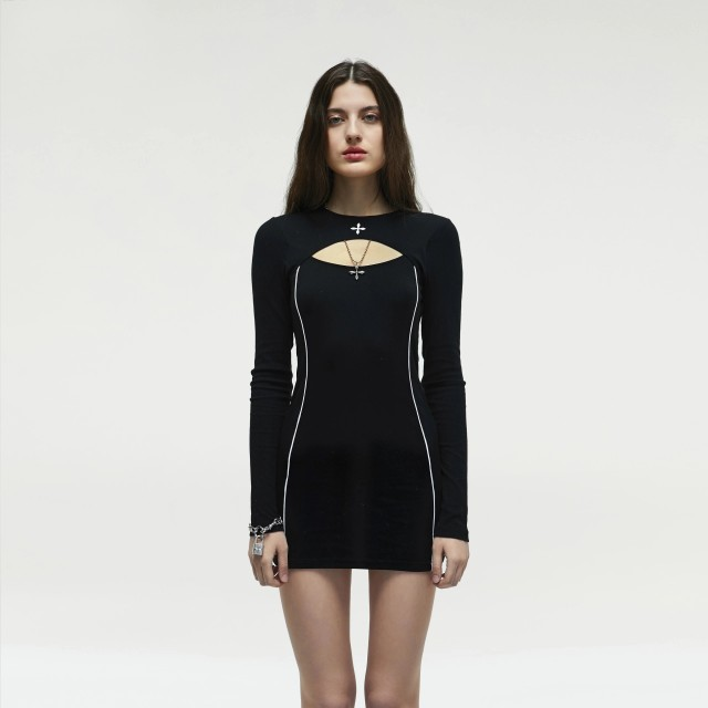 Shunfeng parcel smfk official direct delivery midnight black cotton unlimited tennis skirt tight Long Sleeve Dress