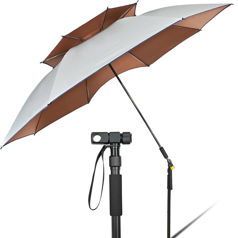 钓鱼碳素杆钓鱼伞2.2米双层万向超轻折叠防雨遮阳防紫外线黑胶热销11件假一赔十