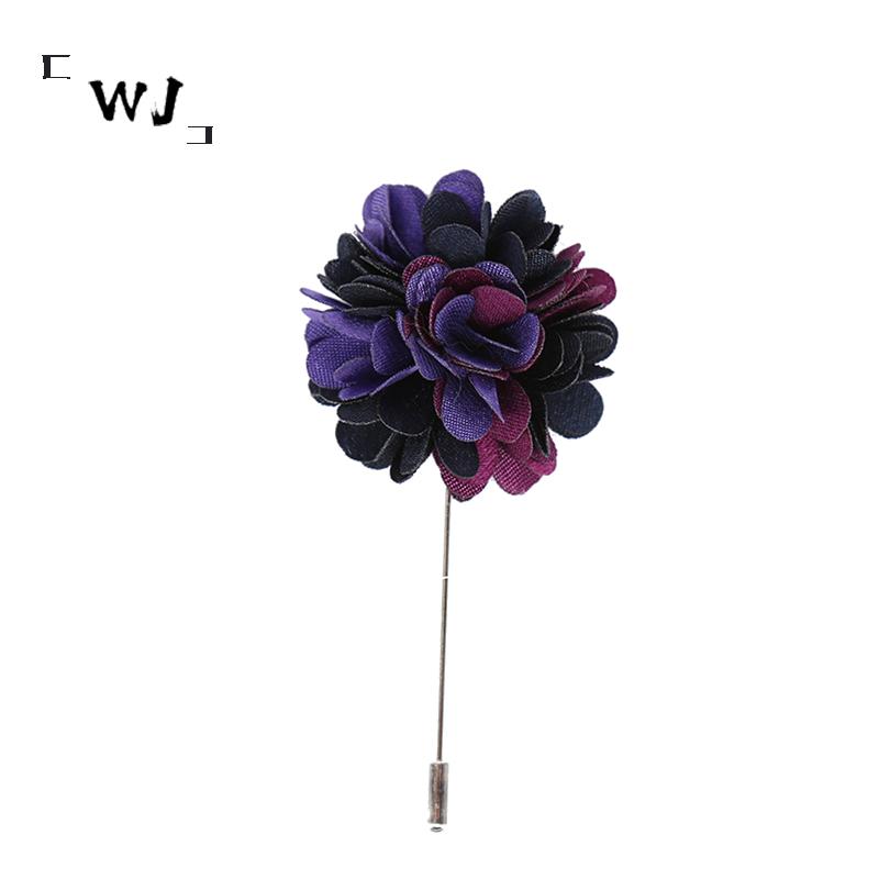 WJ purple gradual change Brooch collar pin Korean mens long needle one line Brooch formal business accessories suit gift box