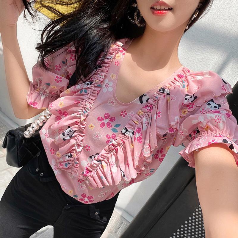 【地球店】小众减龄樱花粉熊猫上衣荷叶边V领碎花短款泡泡袖衬衫