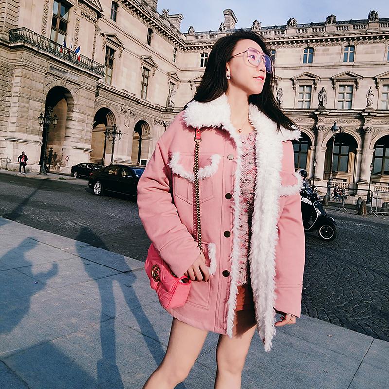 Зима пальто женщина четыре мешок плюш серо - розовый негабаритный модель свободный пальто