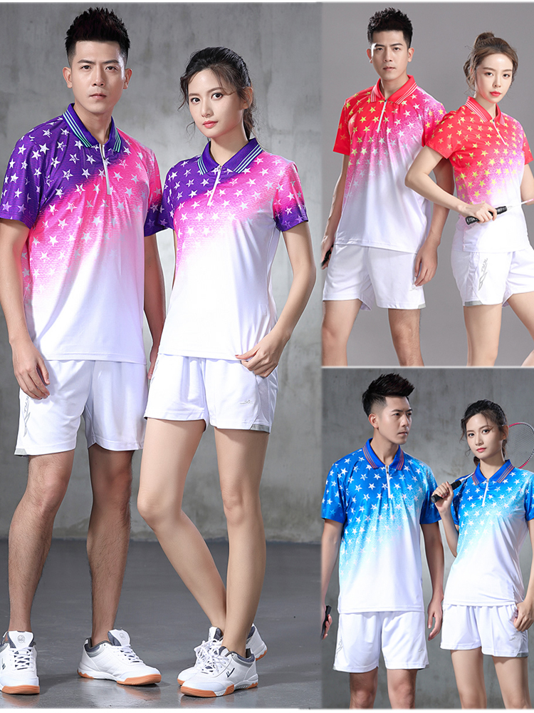 2020 slim fit authentic womens mens table tennis suit Lapel breathable table tennis suit group purchase customization