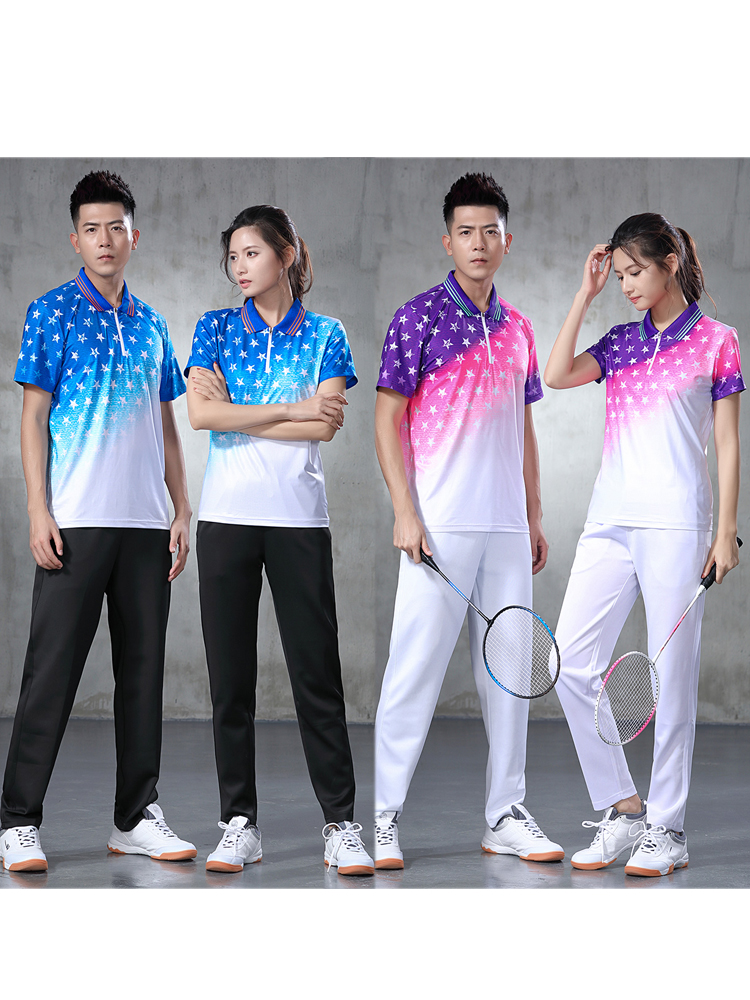 2020 slim fit authentic womens mens table tennis suit Lapel short sleeve top with trousers group purchase customization
