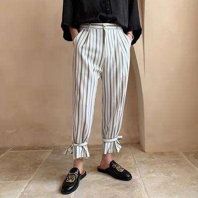 2019夏装条纹可束脚男士宽松直筒九分裤 二色KK1003/P65