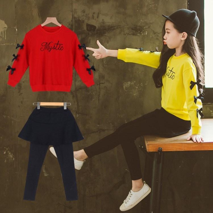女童套装2019春秋新款儿童中大童装时尚套装洋气时髦裙裤两件套潮