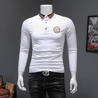 D316-5165-P85 男士长袖t恤2018秋装新款男式体恤打底衫 白色