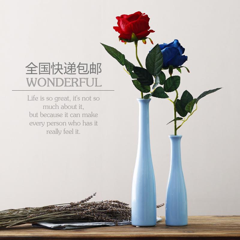 限1000张券简约细口细长桌面陶瓷小花瓶客厅插花水培花器酒店餐厅办公装饰物