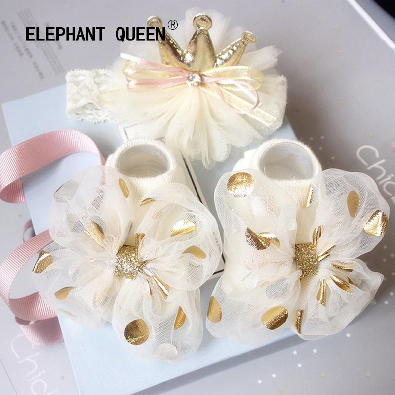Baby Flower socks hair with gift box set 100 day gift for newborn 0-cotton lovely princess accessories