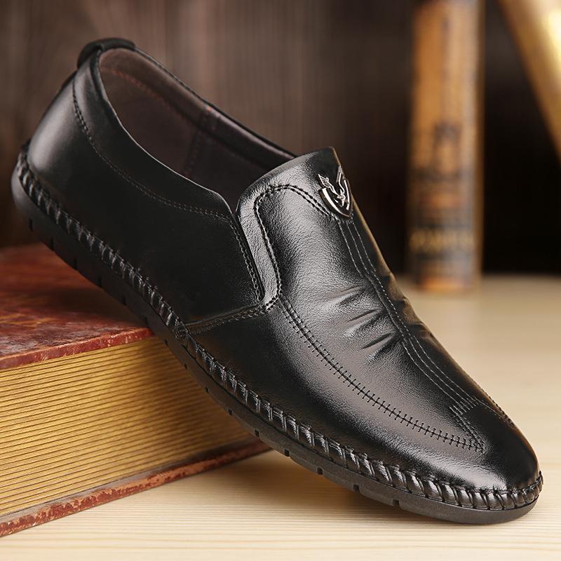 。啄木鸟专柜正品秋天男土休闲皮鞋无带真皮悠闲鞋子软底不系带没