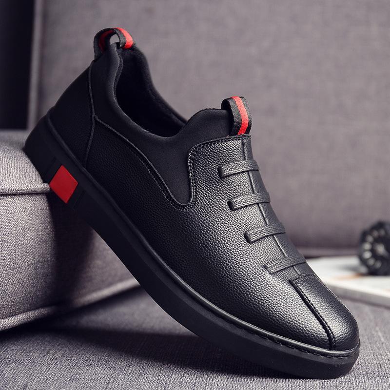 。啄木鸟专柜正品秋季全黑色休闲皮鞋男土纯黑平板鞋子无带纯黑防