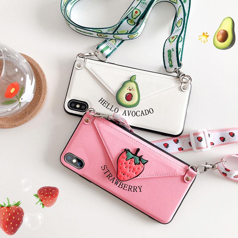 牛油果草莓卡包苹果x手机壳iphonexsmax零钱包xmax斜跨xr钱包7pl11-18新券
