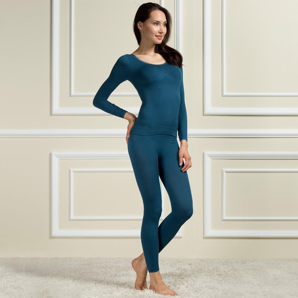 Hups Hepu / Hepu womens bamboo fiber lace large round neck tight fitting clothes nine point autumn Pants Set