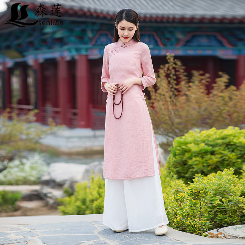 中国风民族文艺唐装连衣裙阔腿裤10月17日最新优惠