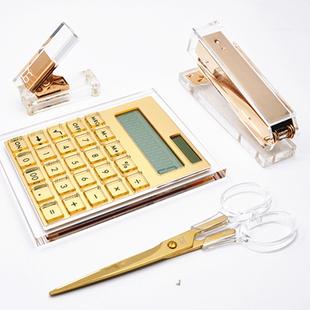 透明亚克力裁剪刀打孔机器金色计算器文具手工具裁剪学生办公金属