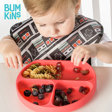 Bumkins children's dining plate dividing suction cup bowl baby tableware cartoon cute baby silicone anti falling auxiliary food bowl