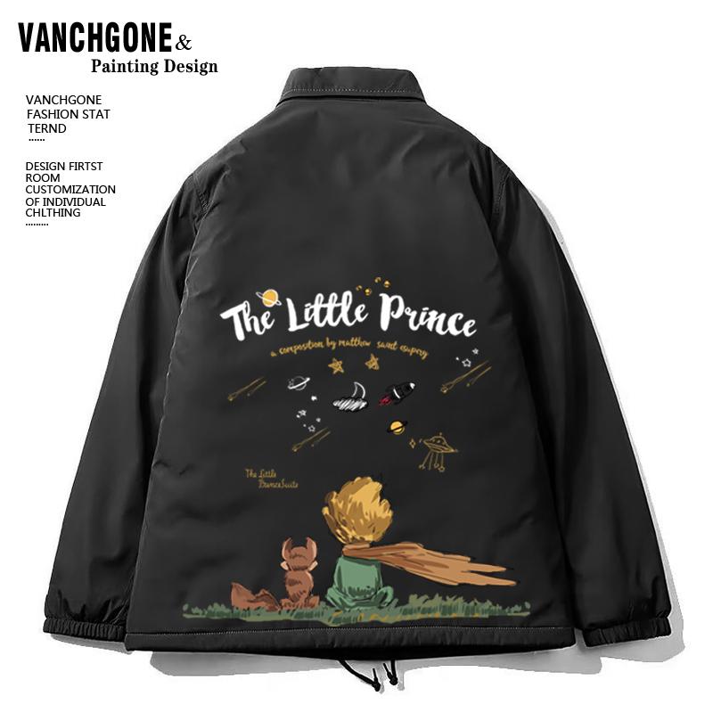小王子联名衣服合作款的玫瑰花系列外套春秋季限定情侣教练夹克男