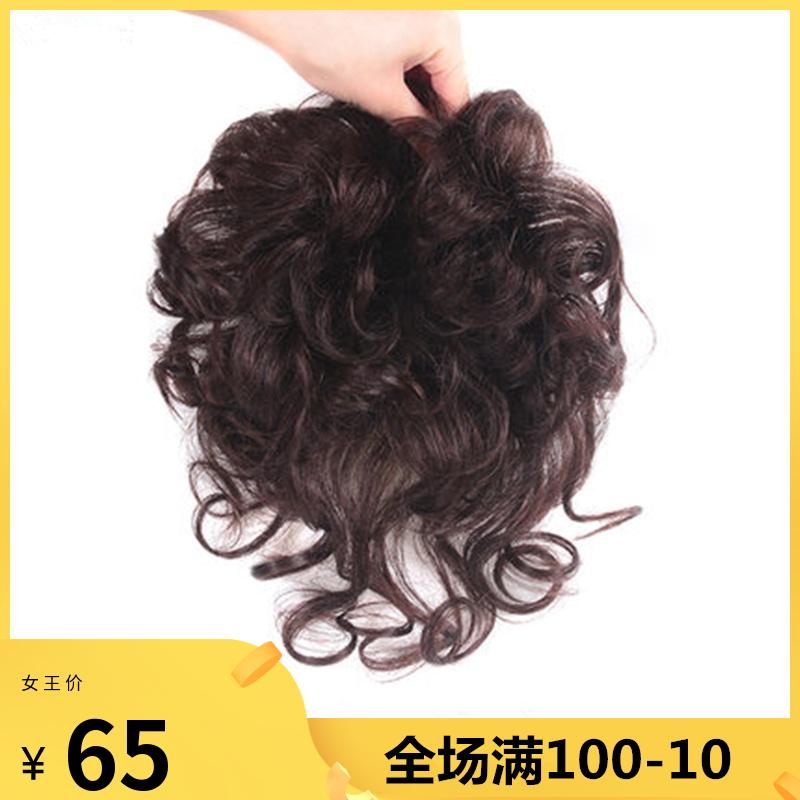 头顶补发片假发女短卷发真人发遮白发蓬松自然隐形补发量短卷发片