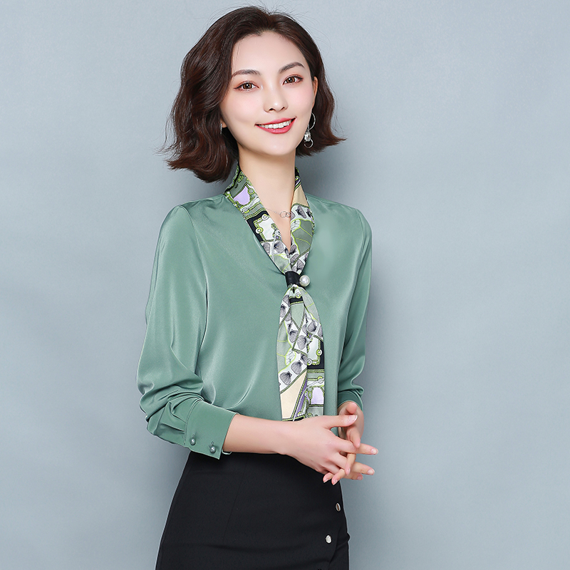早春装2020年新款女士洋气雪纺衬衫长袖衬衣时尚高档上衣气质小衫