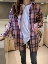 春装新款大码女装胖妹妹薄款长袖格子衬衫防晒衣外套女开衫衬衣潮