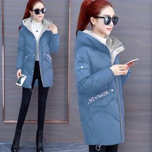 新款 小个子特卖面包服棉袄外 棉服冬装 00印花棉衣女中长款 显瘦韩版