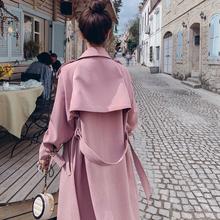 风衣女中长款粉色2019新款秋大衣韩版宽松小个子英伦气质过膝外套