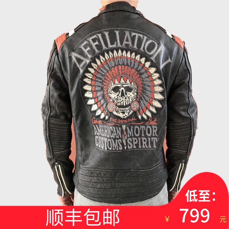 American style retro made mens head leather leather leather jacket with leather, Indian embroidered skull Harley motorcycle leather jacket