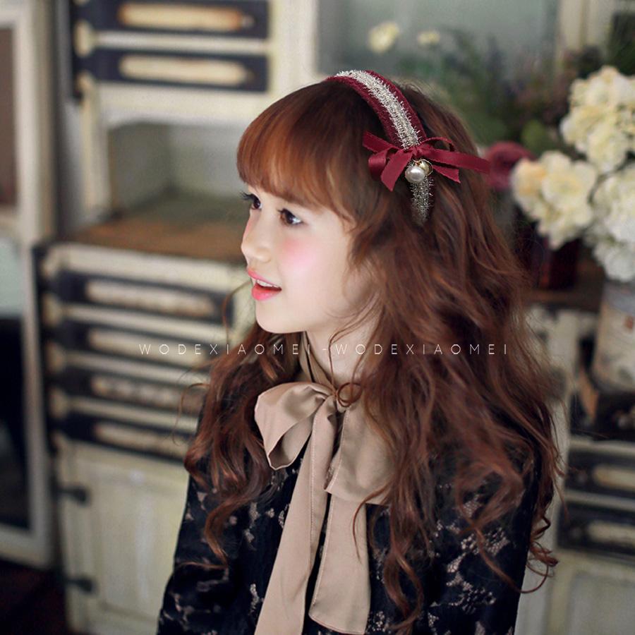 儿童发饰蝴蝶结宽发箍女孩公主气质头饰复古珍珠女童刘海发卡头箍
